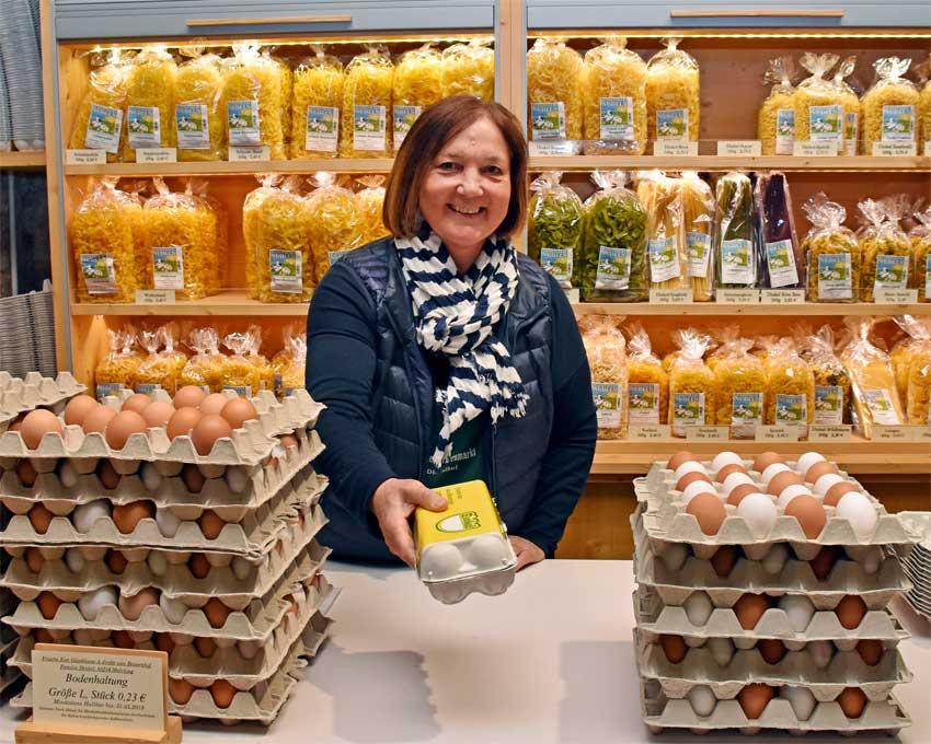 Eier und Nudeln vom Dinkelhof auf dem Bauernmarkt Fürstenfeldbruck